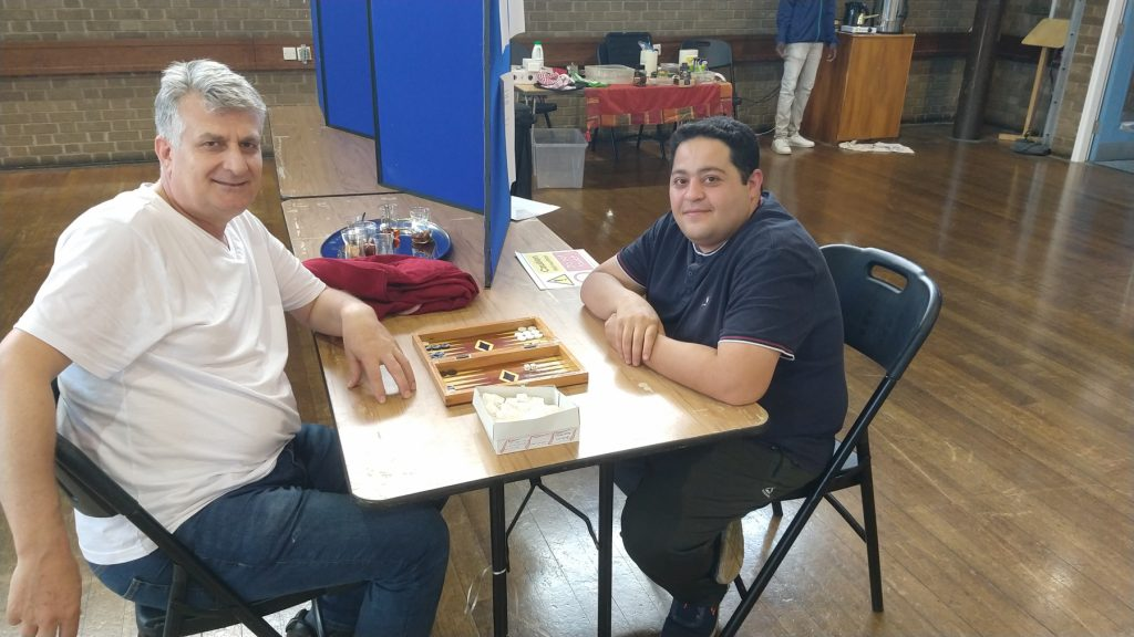 Kazim and Milad playing Backgammon at The Ask Club